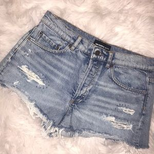 The Kooples High Rise Distressed Studded Short